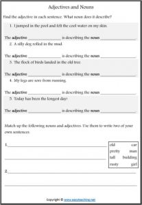 adjectives nouns worksheet parts of speech