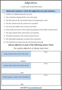 adjective search worksheet parts of speech