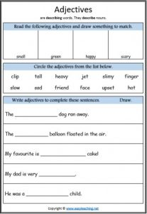 adjectives worksheet parts of speech