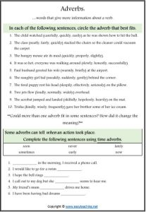 adverb worksheet circle parts of speech