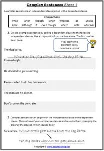 complex sentences conjunction worksheets