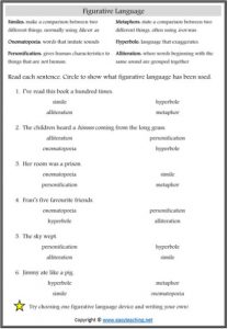 figurative language worksheet similes metaphors alliteration figurative language worksheets