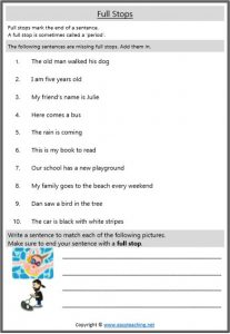 full stops punctuation punctuation worksheets