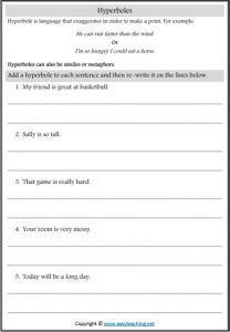 hyperbole figurative language worksheets