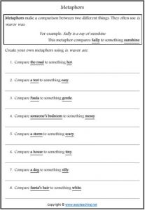metaphors figurative language worksheets