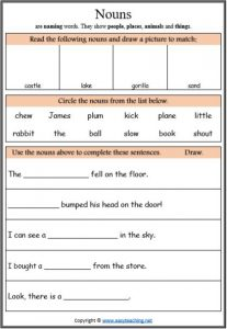learning nouns worksheet parts of speech