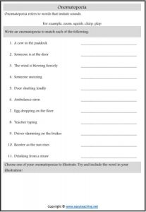 onomatopoeia figurative language worksheets descriptions