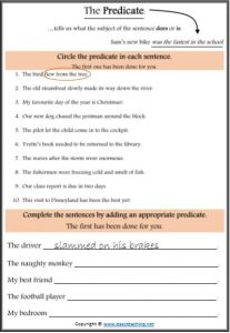 predicate worksheet parts of speech