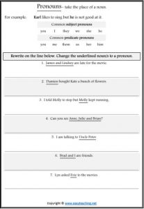 pronouns worksheet parts of speech