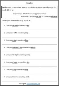 similes figurative language worksheets write