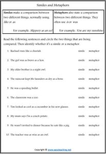 similes metaphors figurative language worksheets