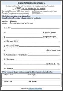 simple sentences worksheet parts of speech