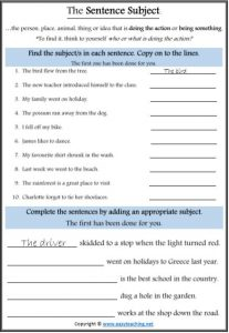 subject predicate worksheets parts of speech pdf
