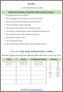 verb search worksheet parts of speech