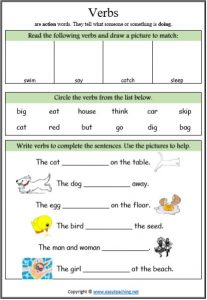 verbs worksheet parts of speech