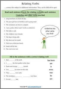 relating linking verbs worksheet parts of speech