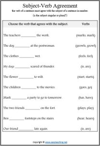 verbs subject agreement worksheet parts of speech