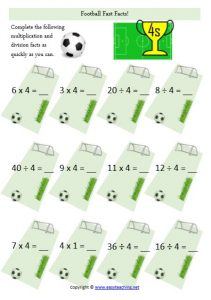 division multiplication fast facts football