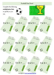 multiplication fast facts worksheet football