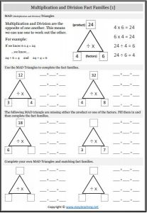 multiplication and division worksheets  easyteachingnet multiplication fact families worksheets