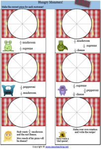 fractions making pizzas sheet equivalent fraction worksheets