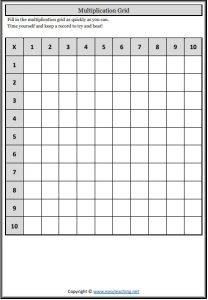 multiplication grid blank