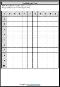 multiplication grids blank
