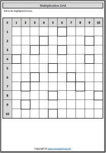 multiplication grids fill in worksheets