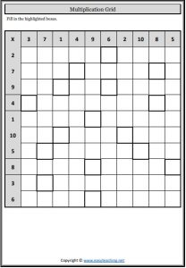 multiplication grid fill in worksheets