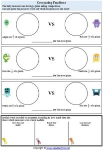 comparing fractions pizza adding fractions worksheets