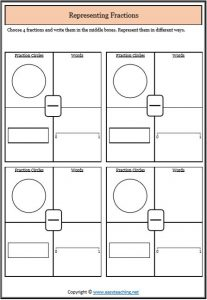 represent fraction different ways representing fractions worksheets