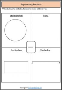 representing proper fractions worksheet
