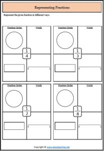 represent proper fractions representing fractions worksheets