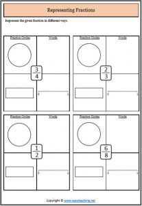 represent unit fractions template representing fractions worksheets