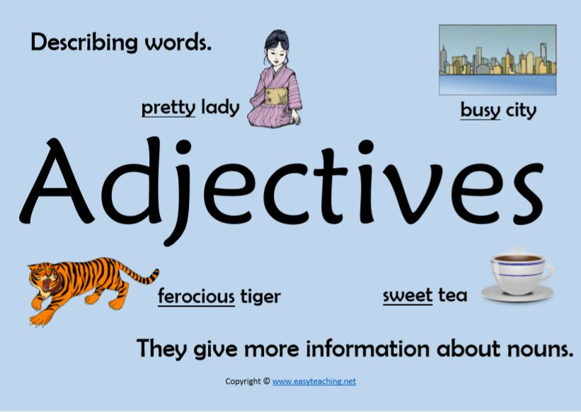 adjectives classroom display poster