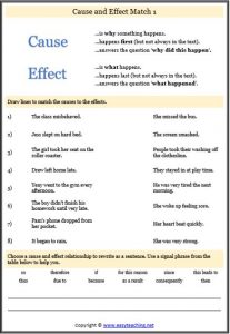 cause effect match worksheet