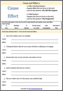 identify cause effect relationships worksheet