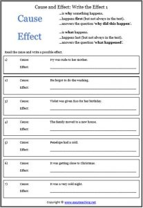 causal relationships worksheets