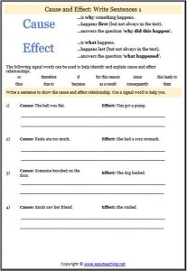 cause effect relationships worksheet