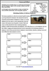 cause effect reading strategy worksheet elephants