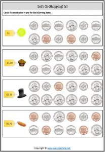 adding coins worksheet usa america