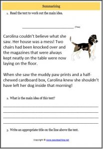 summarising text worksheet dog