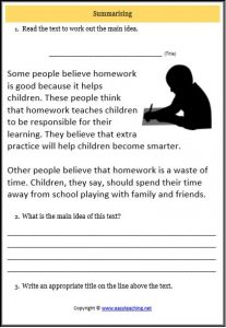 main idea homework text worksheet