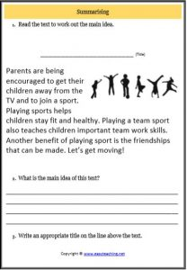 summarising non fiction text worksheet sport