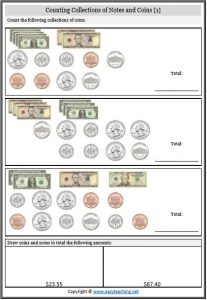 counting coins notes worksheet us america
