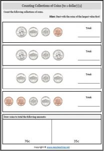 counting collections coins worksheet us america