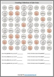 counting coins worksheet usa america