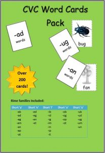 cvc word cards game literacy centers