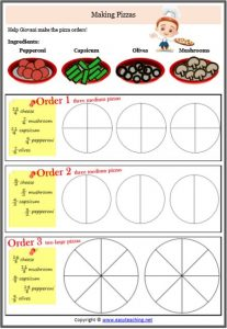 improper fractions making pizza worksheet