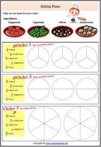 improper fractions making pizza worksheets